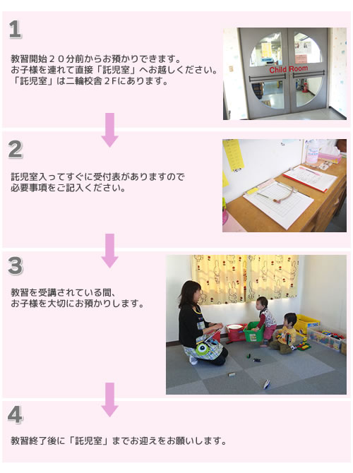 託児室の手続き方法